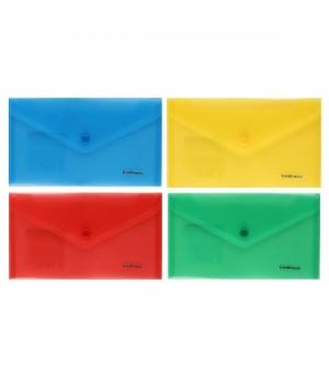 Папка-конверт на кноп А6 (130*225) 0,18мм Classic ЕК 47054 п/прозр ассорти 4 вида
