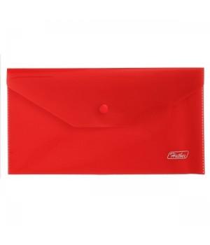 Папка-конверт на кноп А6 (120*220мм) 0,18мм красная AKk6_00003 п/прозр