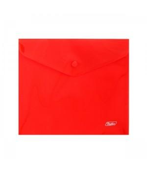 Папка-конверт на кноп А5 (215*240мм) 0,18мм красная AKk_15103 п/прозр