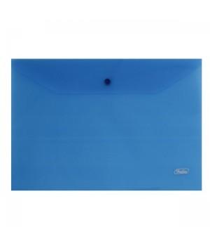 Папка-конверт на кноп А4 (235*330мм) 0,18мм синяя AKk4_00002 прозр