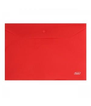 Папка-конверт на кноп А4 (235*330мм) 0,18мм красная AKk4_00003 п/прозр