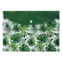 Папка-конверт на кноп А4 (230*320мм) 0,15мм Пальмовые листья 183481/1 КОКОС п/прозр
