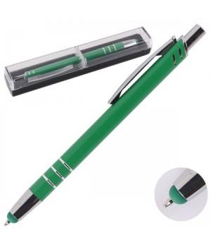Ручка-стилус шар подар нажим мех корп зел 170595/300/4 КОКОС син пласт/футляр