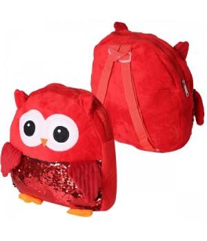 Рюкзак дет ткань 1отд 30*30*6 Совушка с пайетками 185506 КОКОС красный