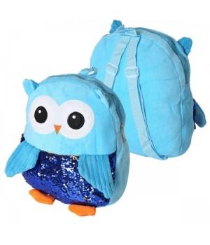 Рюкзак дет ткань 1отд 30*30*6 Совушка с пайетками 185506 КОКОС голубой