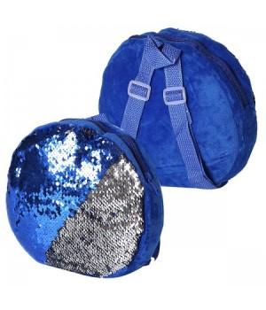 Рюкзак дет ткань 1отд 22*22*4 Пайетки 185503 КОКОС синий