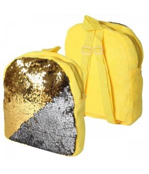 Рюкзак дет ткань 1отд 24*30*6 Пайетки 185504 КОКОС желтый