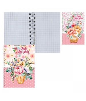 Книжка записная А7 (67*100) 40л дв спир обл мягк карт Корзинка цветов 40-7186 ассорти 2 вида