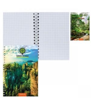 Книжка записная А6 (95*140) 80л дв спир обл мягк карт Зеленый мир 80-7177