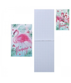 Блокнот А7 (65*100) 48л склейка обл мягк карт Фламинго глянц лам 48Б7В1к ассорти