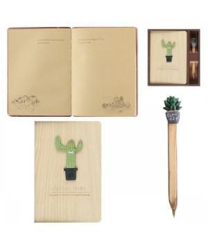 Набор подарочный 2пр Книжка зап А6 (134*192) +ручка Кактус 183954 КОКОС ассорти 4 вида