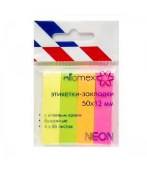 Закладки бум 12*50 4цв*80л Attomex 2011701 неон
